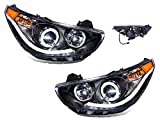 hyundai accent - SPPC Projector Headlights Black Assembly Set with Halo for Hyundai Accent 4 Door/Hatchback - (Pair) Driver Left and Passenger Right Side Replacement Headlamp