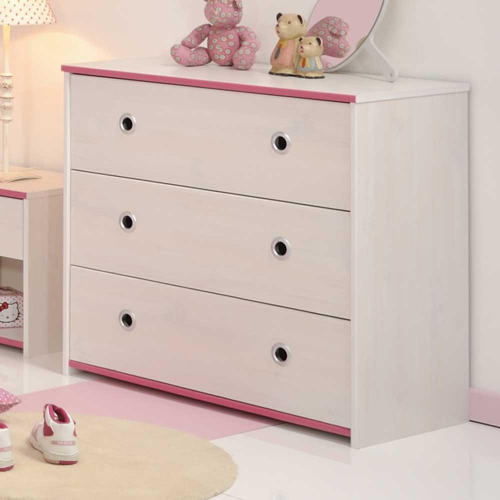 Pharao24 Kinderkommode in Weiß Pink Blau Schubladen