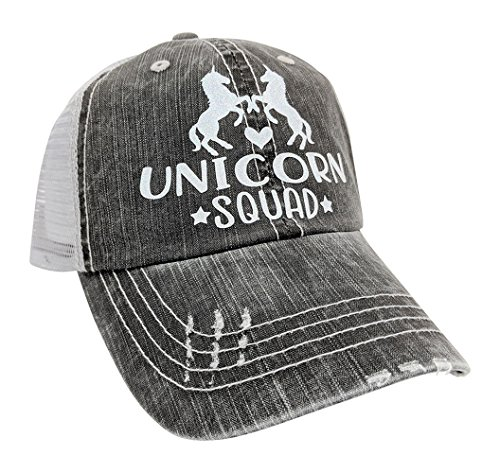 Loaded Lids Women's Unicorn Squad, Unicorn, Best Friends, Bling Baseball Cap (Grey/WhiteGlitter)
