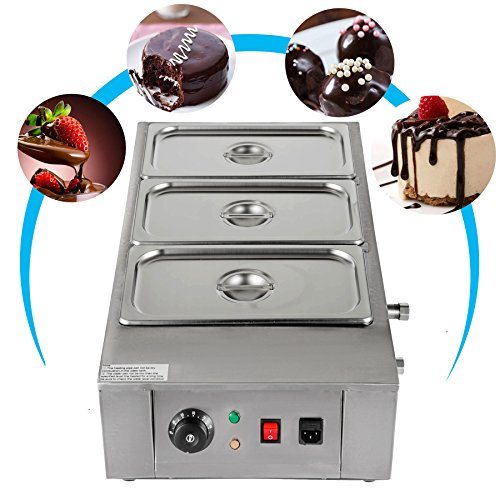 VEVOR Electric Chocolate Melting Pot Machine for Bakeries Cafes and Fountains 26.45lbs Commercial Cocoa Heater, 3 Tanks, Silver from VEVOR