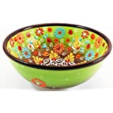 Handmade Ceramic Decorative Soup and Cereal Bowls - Set of 2 - different colors and patterns - 6 inch - 16 oz great serving Bowls (Aegean Green)