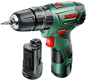 Bosch EasyImpact 12 - Taladro atornillador percutor a batería (2 baterías, 12 V, Power for all, 2,5 Ah, cargador de baterías, maletín)