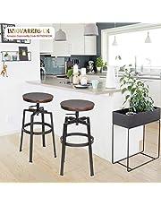 Innovareds® Set of 2 Bar Stool Industrial Metal Style Vintage Wood Adjustable Height Swivel