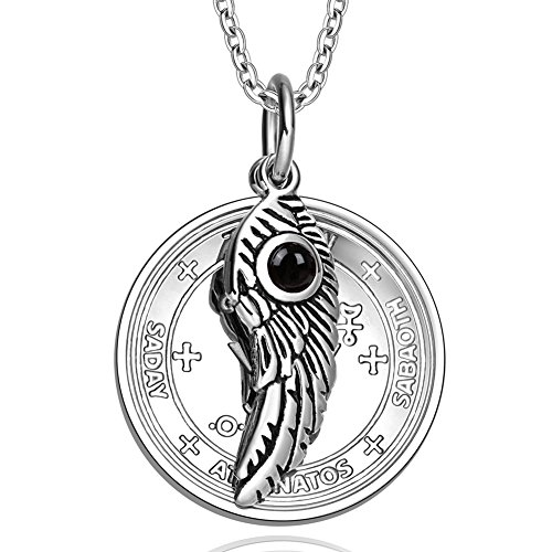 Archangel Michael Sigil Amulet Magic Powers Angel Wing Simulated Black Onyx Pendant 22 Inch - Necklace Charm Black Onyx