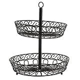 B Blesiya 2 Tier Fruit Vegetable Basket Bowl Iron Wire Rack Stand Storage Holder for Cafe Kitchen Restaurant, Black