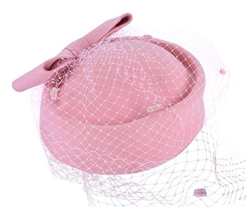 [Pillbox Hat Veil Fascinator Party Wedding Retro Top Hat for Women] (Pink Top Hats)