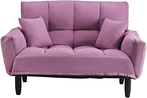 Romatpretty Upholstered Sofa,Loveseat Bed,Adjustable Couch, Modern Plush Tufted Sofa Recliner A Pair of Toss Pillows with Support Legs Bedroom Bench for Living Room Small Spaces