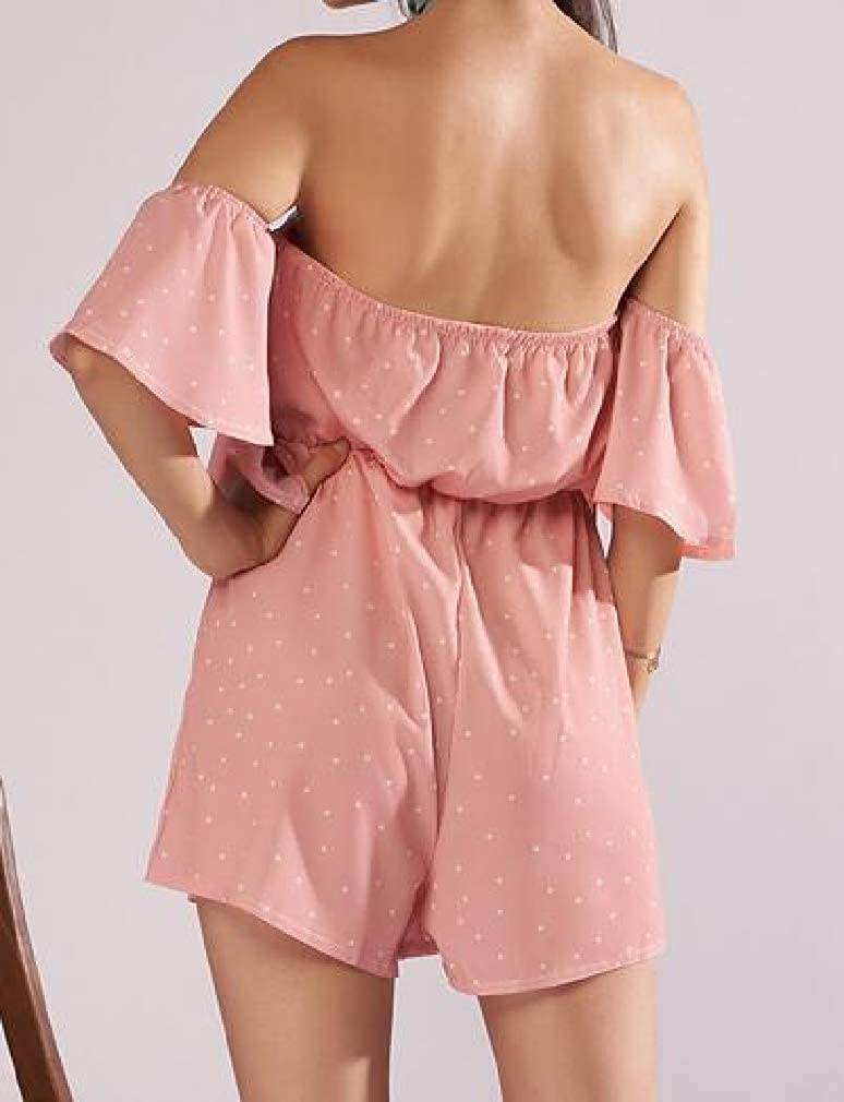 Smallwin Womens Playsuit Ruffle Off Shoulder Solid Shorts Jumpsuits Rompers
