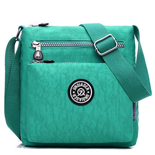 Outreo de Moda Viaje Mujer Bolso Bandolera Deporte para Bolsas Casual Verde Ligero Pequeña Bolsos Bolsos Escuela Bolsas de Impermeable de rwrxg