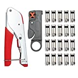 ESYNIC Coax Cable Crimper Coaxial Compression Tool Kit Wire Stripper with Coaxial F RG6 RG59 Connector LTT-7 CATV Cable Locking Terminator TV Tool