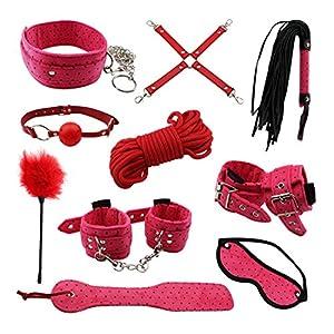 Restraints for Sex, PALOQUETH 10 Pcs BDSM Toys Leather Bondage Sets Restraint Kits Sex Things for Couples
