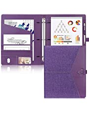 Toplive Padfolio 3 Ring Binder (1'' Round Ring) Business Portfolio Folder for Interview, Conference and Presentation