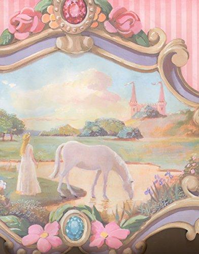 York Wallcoverings JV6216B Princess White Horse Pink Castle Extra Wide Extra Wide Wallpaper Border Retro Design