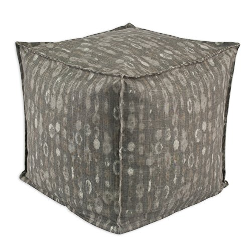 Chooty Amba Dosset Square Seamed Pellet Hassock, 17-Inch, Grey/Cream/Taupe