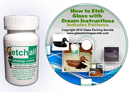 Glass Etching Cream By Etchall (4 oz) with Disc: Instructional Ebook & Stencil Patterns