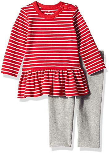 - Moon and Back Baby Girls' Organic 2-Piece Dress and Legging Set, Red Cranberry, 24 Months