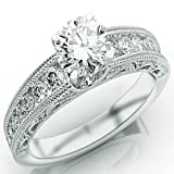 1.8 Carat Round Cut Designer Channel Set Diamond Engagement Ring with Milgrain (J Color, I1 Clarity)