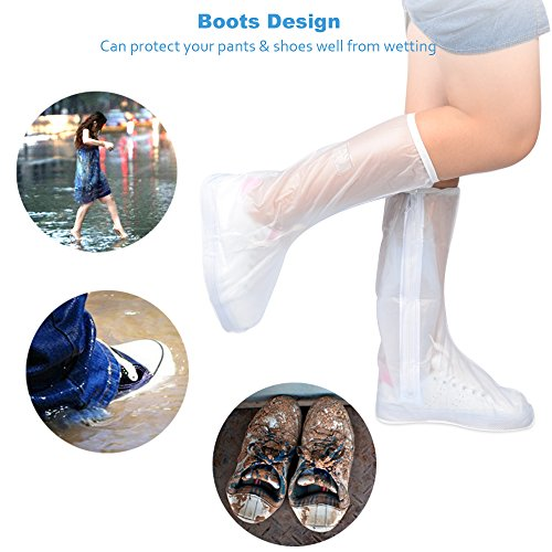 SOUMIT Cubierta Impermeable del Zapato del Alto Tubo�?7-38�? Reusable, Dustproof, Sealed Zipper Seal Protection 35-36