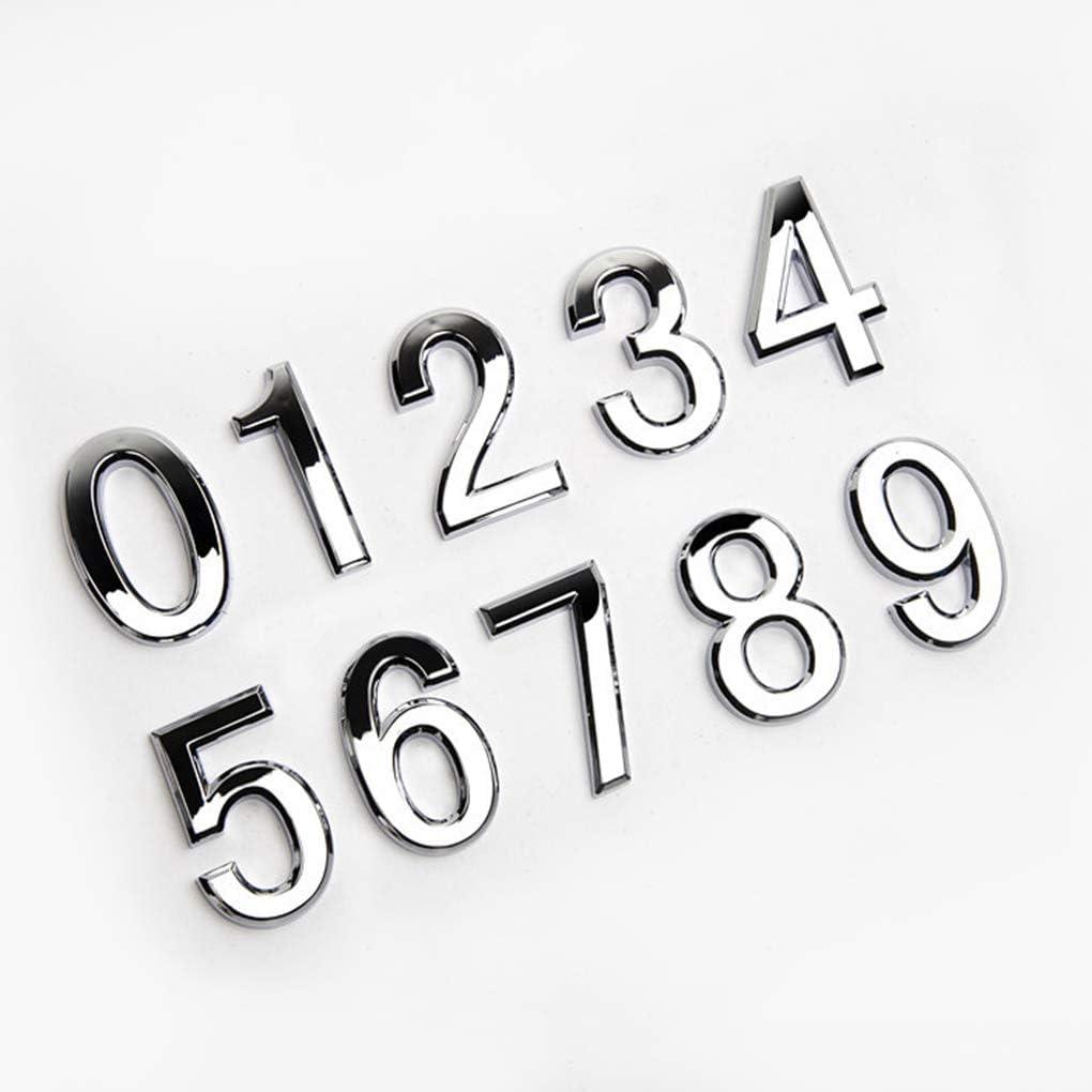 pigup Die Ziffer T/ür Plaque Haus Sign Plating Tor 0 bis 9 aus Kunststoff Anzahl Tag Hotel Home Aufkleber T/ürschild