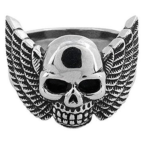 INOX Jewelry Mens Stainless Steel Black Oxidized Winged Skull Ring Size 9 (Skull Winged Ring)