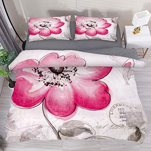 LvShen Pink Butterfly Flower 3 Pieces Bedding Sets California King Size Printed Sheets Bed Coverlet Duvet Cover Set with 2 Pillow Cases Shams for Home Women Men