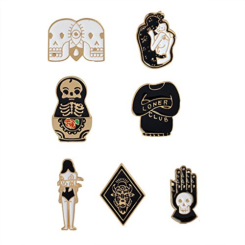 Cartoon Skull Women Brooches Collar Pins Set Enamel Button Black Totem Bound For Jacket Shirt (Pins Womens)