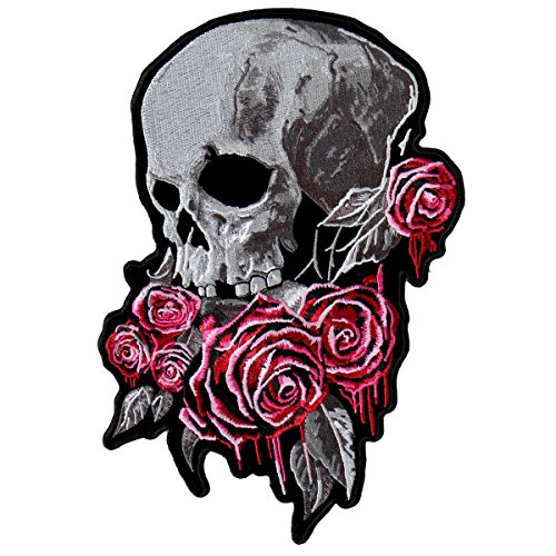 Floss Rose (Hot Leathers, BLEEDING ROSES, High Thread Embroidered Iron-On / Saw-On Rayon PATCH - 3