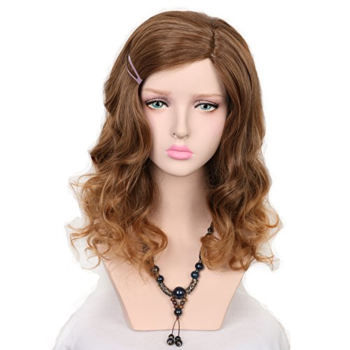 [Yuehong Medium Brown Long Kinky Curly Cosplay Harajuku Women Wigs Synthetic Hair Wig] (Hermione Wig)