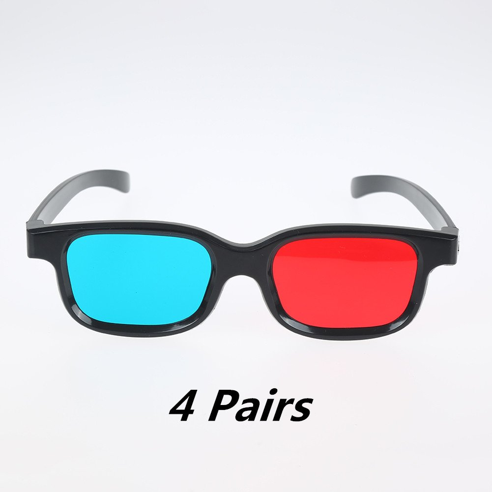 Adult Red Blue/  Cyan  3D Vision Glasses, Anaglyph 3D Glasses Black for 3D Movies&Games - 4 Pairs Family Pack EAHAWORLD