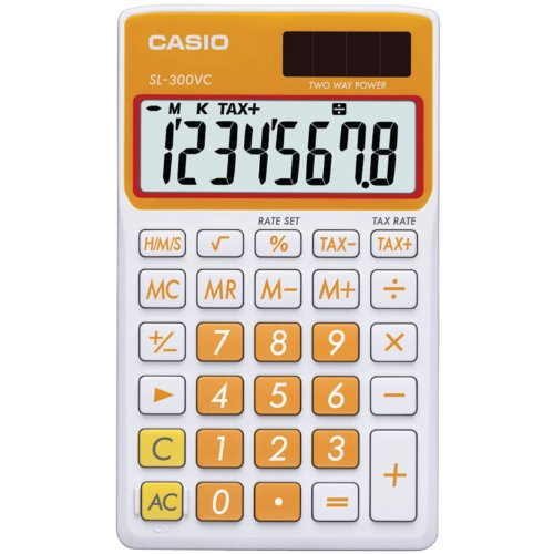 Casio SL-300VC Standard Function Calculator, Orange