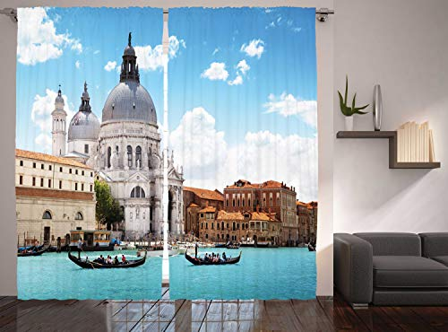 """Ambesonne Venice Curtains, Grand Canal and Italian Architecture City in Italy Photo Image Print, Living Room Bedroom Window Drapes 2 Panel Set, 108"""" X 90"""", Coffee White"""