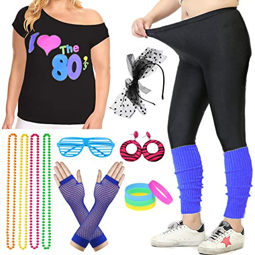 Women Plus Size 80s T-Shirt Pop Party Fancy Costume Outfit Accessory (XXL/3XL, Blue) -