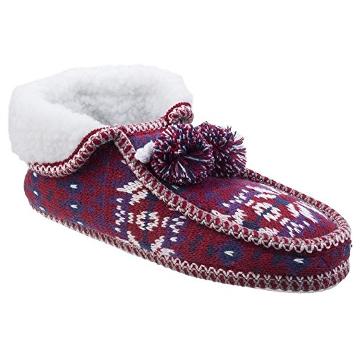 Divaz Womens/Ladies Lapland Full Shoe Knitted Casual Bootie Slippers Red