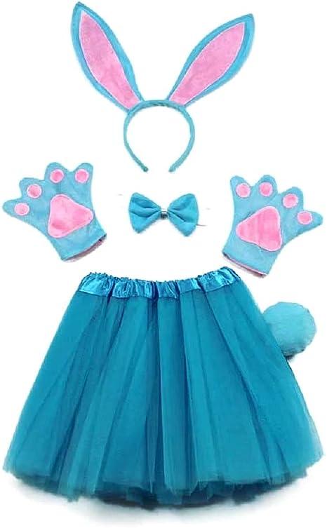 Disfraz de conejito azul - niña - tutú - diadema - guantes ...