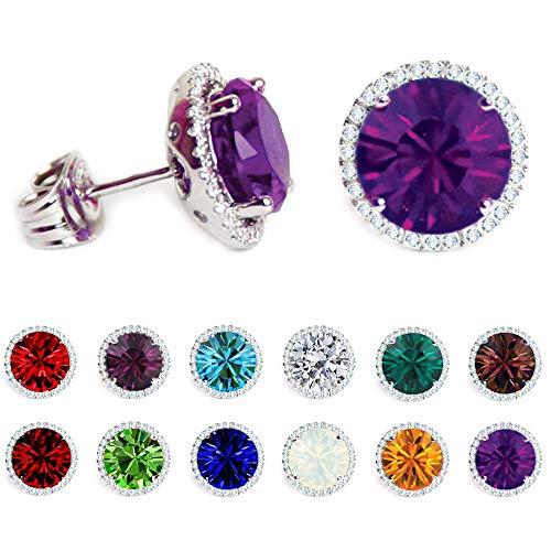 Swarovski Earrings, Birthstone, Stud Earrings, Crafted in USA, Birthday gift ideas for women, wife, mother, girl friend, mom, teen (DECEMBER)