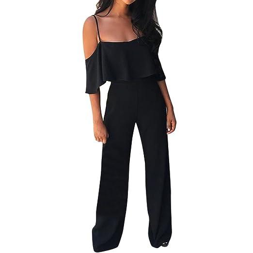 Amazon.com: Orangeskycn Women Jumpsuits Elegant Wide Leg O ...