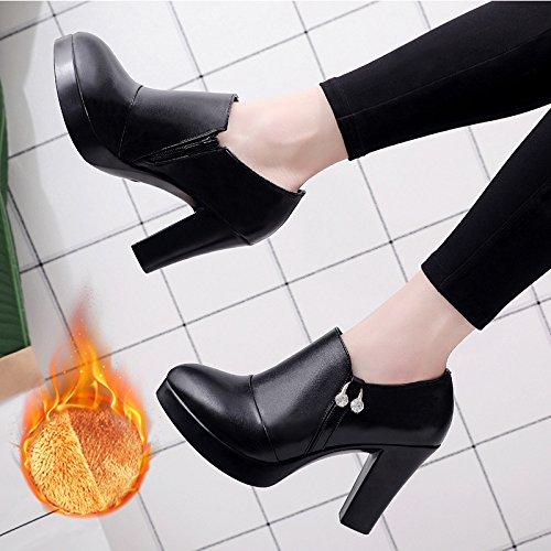 Jqdyl High Heels Wasserdichte Plattform tiefer Mund einzelne Schuhe starke Ferse High Heel spitz wasserdichte Plattform tiefer Mund einzelne Schuhe Frauen schwarz groszlig;e Grouml;szlig;e  34 Black plus
