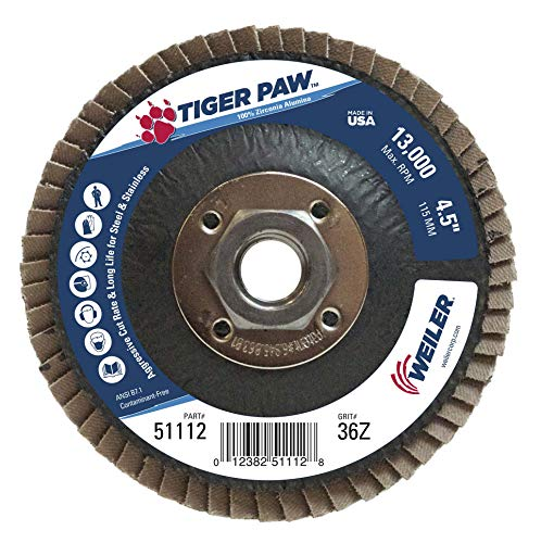 Weiler 51112 Tiger Paw High Performance Abrasive Flap Disc, Type 27 Flat Style, Phenolic Backing, Zirconia Alumina, 4-1/2