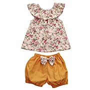 GSHOOTS Baby Girls' 2PCS Clothes Little Flower Ruffle Collar Top + Bowknot Shorts Outfit Set (80/0-6 Months, Ginger Garden)