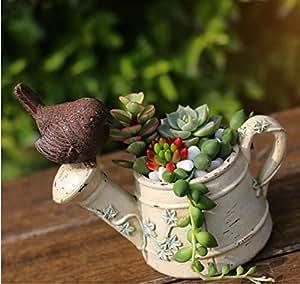 Coolbila Rural Bird Sprinkler Flowerpot Personality Micro Landscape Bonsai Planter (Cream)