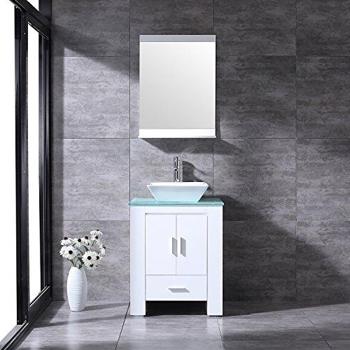 """BATHJOY 24"""" White Modern Wood Bathroom Vanity Cabinet Ceramic Vessel Sink Top Free Faucet Drain with Mirror - Vessel Vanity Cabinets"""