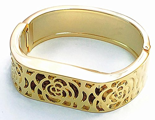 """Flower Band Bangle (BSI Metal Bracelet For Fitbit Flex Activity Sleep Tracker Gold Flowers Design Replacement Band 6-7"""" Large Size)"""