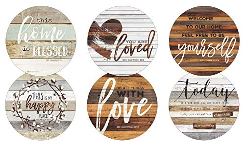 Legacy Publishing Group RCC50534 Marla Rae Round Cork-Backed Coaster Set, 6-Count, This This Home Is ()