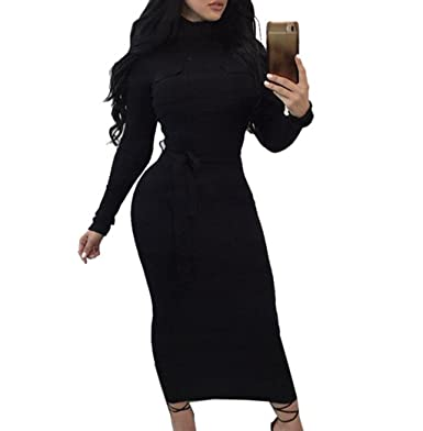 b07721873d Monzocha Womens Solid Ribbed Knit High Neck Long Sleeve Bodycon Dress  Clubwear Black S
