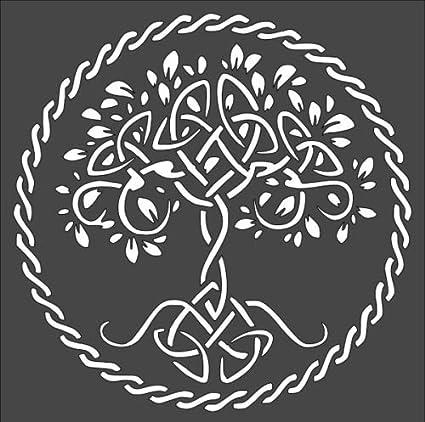 Amazon com: 1-8x8 inch Custom Cut Stencil, Tree of Life, (BB-10)