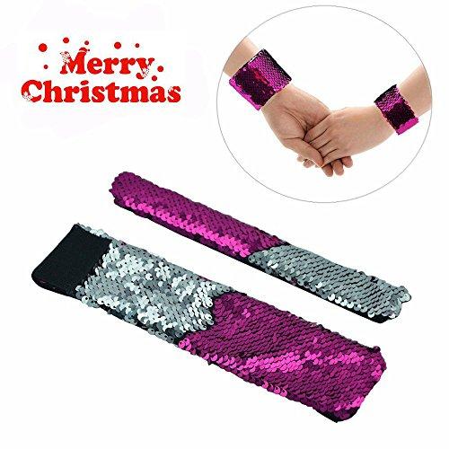 Mermaid Bracelet - 2 Color Reversible Sequin Bracelets - Magic Party Supplies Favors Slap Bracelet for Women, Girls and Kids. (Sliver-Rose)