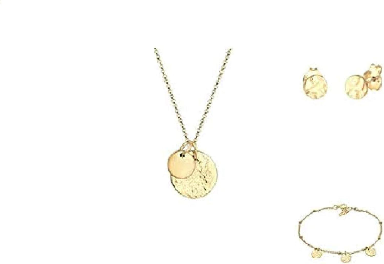 Elli Collares para damas y dos colgantes de monedas redondas en plata de ley 925, collar circular de alta calidad para mujeres, elegante cadena de monedas, cadena de cuello fino, longitud 45 cm