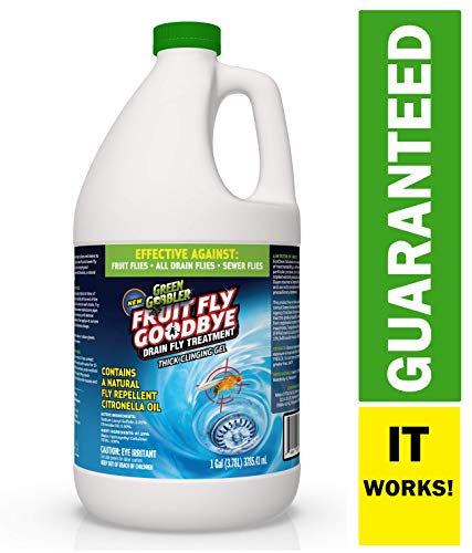 Green Gobbler Fruit Fly Goodbye Gel Drain Treatment | Drain Fly Repellent | Fruit Fly Repellent | Drain Flies Treatment | Fruit Flies Treatment | Drain Fly & Fruit Fly Eliminator (1 Gallon) ()