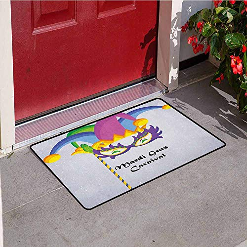 Gloria Johnson Mardi Gras Inlet Outdoor Door mat Mardi Gras Carnival Inscription with Traditional Party Icons Clown Costume Hat Catch dust Snow and mud W19.7 x L31.5 Inch Multicolor]()