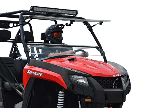 Arctic Cat Windshield - SuperATV Flip 3-in-1 Scratch Resistant Windshield for Arctic Cat HDX 700 / Crew 700 (2016+) - 3 Different Settings! - Hard-Coated for Extreme Durability and Long Life!